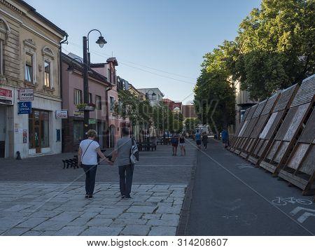 Liptovsky Mikulas, Liptov, Slovakia, July 4, 2019: Pedestrian Zone And Buildings In The City Center