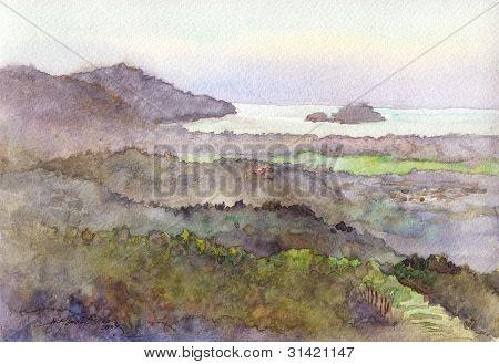 moutiain scene in watercolor
