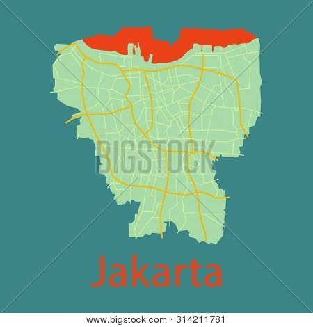 Flat Outline Map Of The Indonesian Capital Jakarta