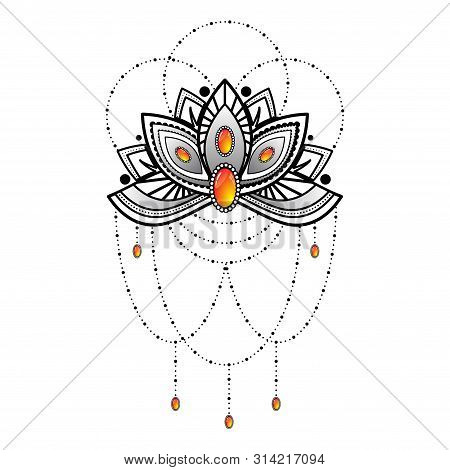 Black Outline Flower Dotted Tatoo Silhouette With Orange Gems