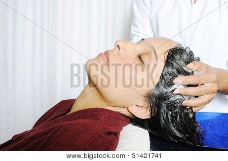 Women taking hair spa in a professional hair salon.