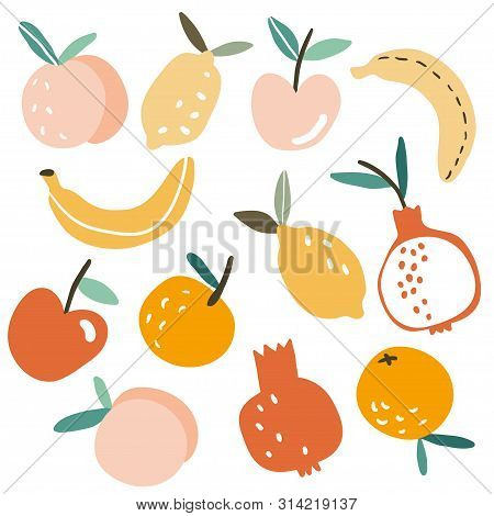 Set With Hand Drawn Colorful Doodle Fruits. Sketch Style Vector Collection. Flat Tropic Set: Apple,