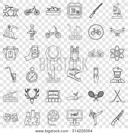 Hobby Icons Set. Outline Style Of 36 Hobby Vector Icons For Web For Any Design