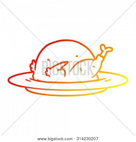 warm gradient line drawing of a cartoon cooked turkey