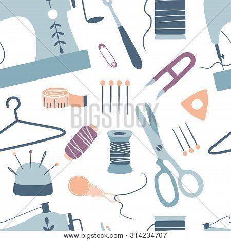Sewing Seamless Pattern: Sewing Machine, Scissors, Thread, Needles, Measuring Tape. Handmade. Arts A