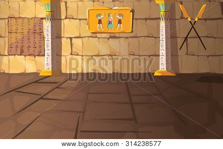 Ancient Egypt Pharaoh Tomb Or Temple Room Cartoon Vector Illustration. Egyptian Pyramid Interior Wit