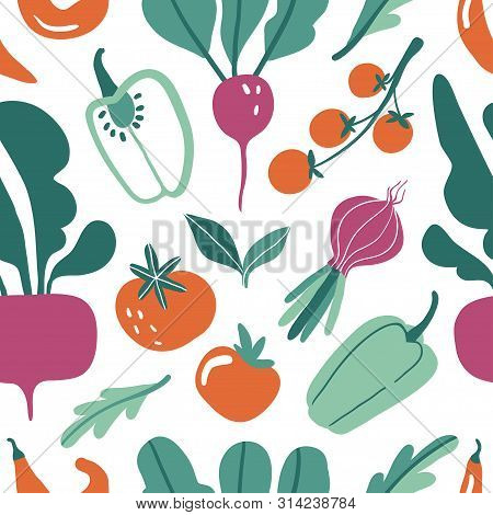 Seamless Pattern With Hand Drawn Doodle Vegetables. Vector Texture For Textile, Wrapping Paper.  Fla