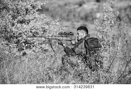 Hunting Permit. Hunting Equipment For Professionals. Hunting Is Brutal Masculine Hobby. Bearded Seri
