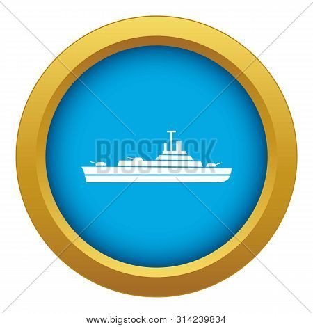 Warship Icon Blue Vector Isolated On White Background For Any Design