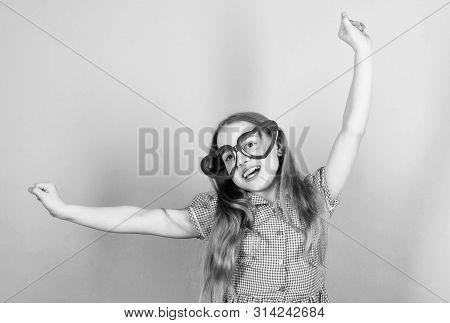 Fashion Eyewear. Power Of Love. Kid Girl Heart Shaped Eyeglasses. Girl Adorable Smiling Face Fall In