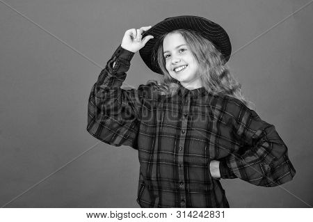Develop Talent Into Career. Girl Artistic Kid Practicing Acting Skills With Black Hat. Enter Acting