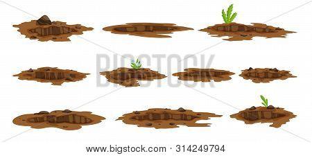 A Big Hole Set The Ground Illustration. Ground Works Digging Of Sand Coal Waste Rock And Gravel Illu