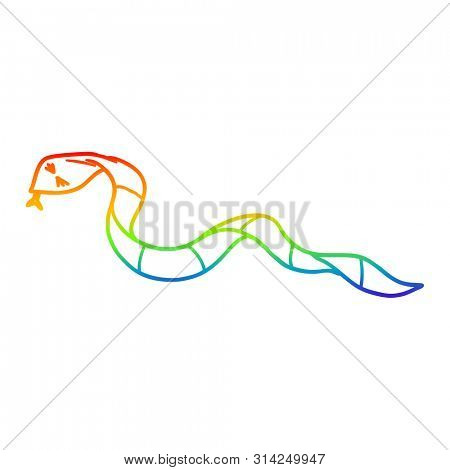 rainbow gradient line drawing of a cartoon snake