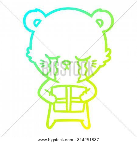 cold gradient line drawing of a crying cartoon bear with present