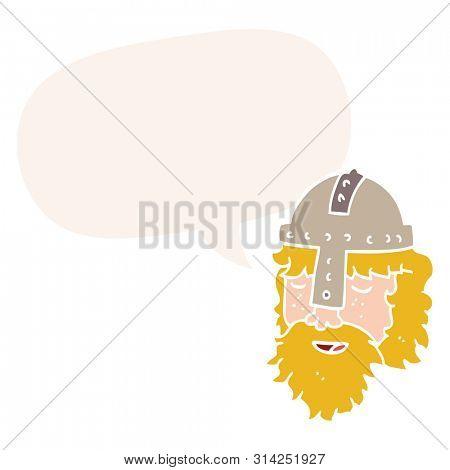 cartoon viking face with speech bubble in retro style