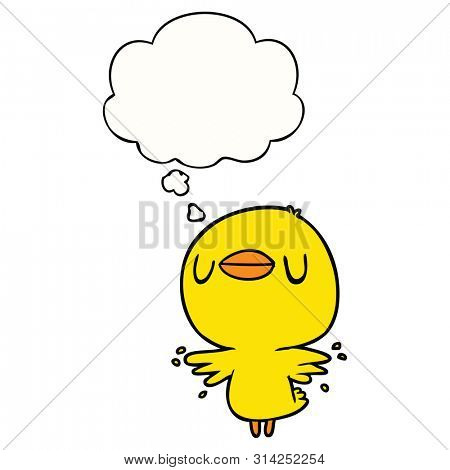 cartoon chick flapping wings with thought bubble