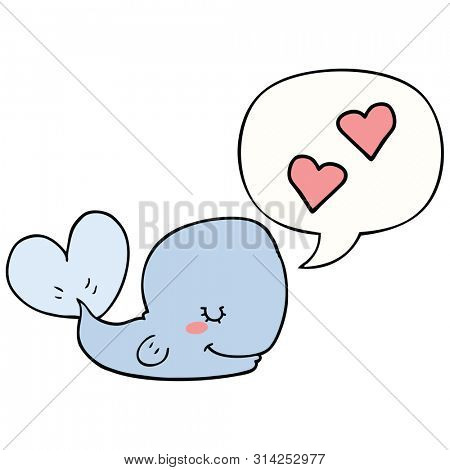 cartoon whale in love with speech bubble