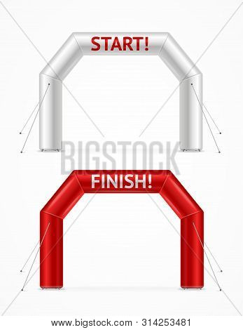 Realistic Detailed 3d Square Inflatable Archway Set. Vector