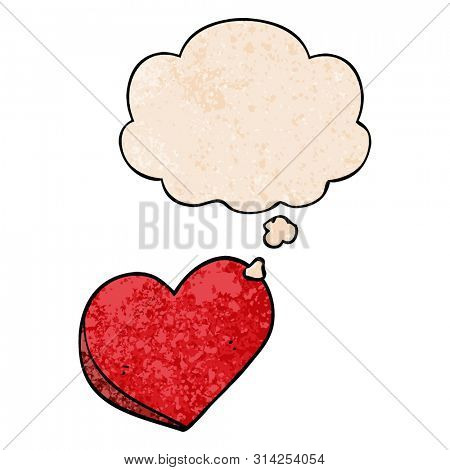 cartoon love heart with thought bubble in grunge texture style
