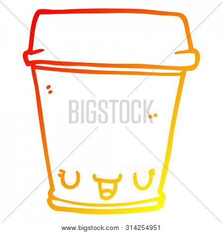 warm gradient line drawing of a cartoon coffee cup