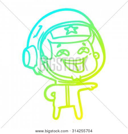 cold gradient line drawing of a cartoon laughing astronaut