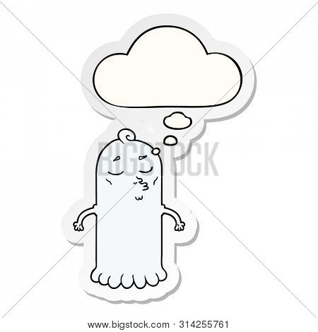 cartoon ghost with thought bubble as a printed sticker