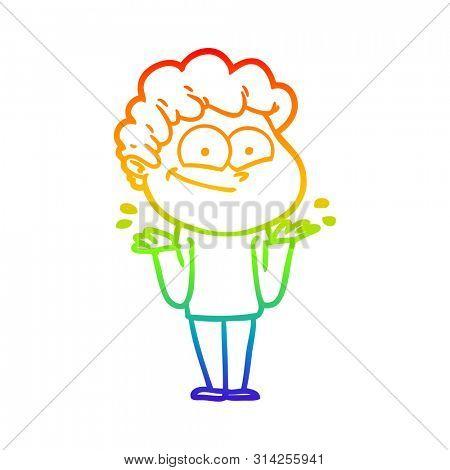rainbow gradient line drawing of a cartoon happy man