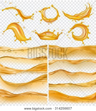 Oil Waves. Realistic Golden Liquid Surface Of Oil Petrol Flow Drops And Splashes Fuel Vector Collect