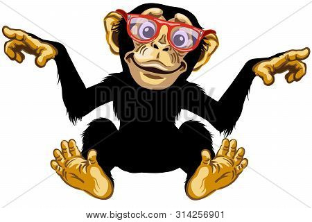 Cartoon Chimp Ape Or Chimpanzee Monkey Wearing Glasses And Smiling Cheerful With A Big Smile On Face