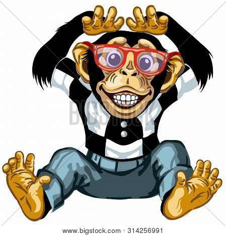 Cartoon Chimp Great Ape Or Chimpanzee Monkey Wearing Glasses And Smiling With A Big Smile On Face Sh