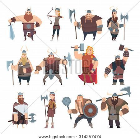 Viking Cartoon. Scandinavian Mythologyy Characters Norway Costume Vikings Warrior Male And Female Ve