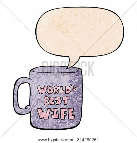 worlds best wife mug with speech bubble in retro texture style