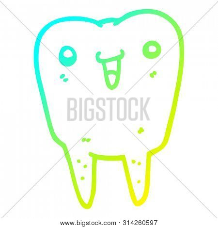 cold gradient line drawing of a cartoon tooth