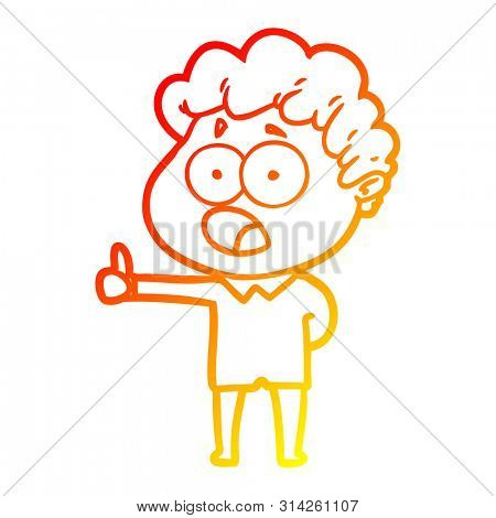 warm gradient line drawing of a cartoon man gasping in surprise
