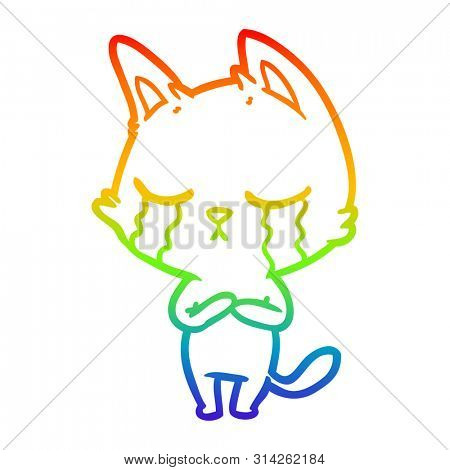 rainbow gradient line drawing of a crying cartoon cat