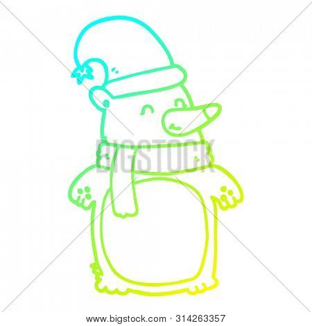 cold gradient line drawing of a cartoon christmas bear