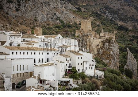 A View Over Zuheros Village And The Castle, Province Of Cordoba, Andalusia, Spain