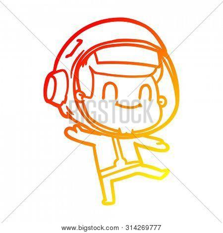 warm gradient line drawing of a happy cartoon astronaut man