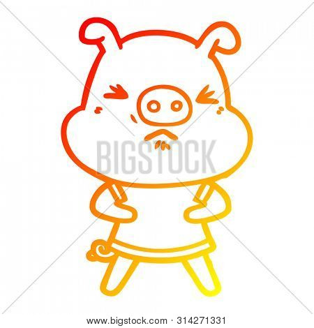 warm gradient line drawing of a cartoon angry pig wearing tee shirt
