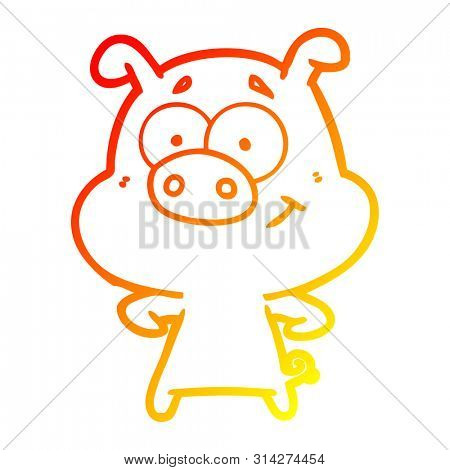 warm gradient line drawing of a happy cartoon pig