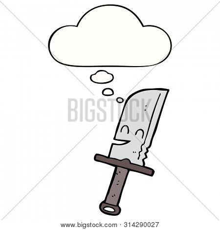 cartoon knife with thought bubble
