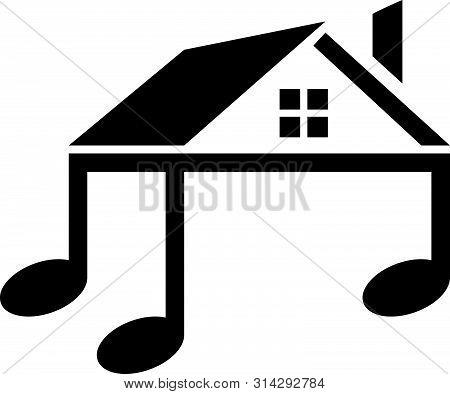 Music Shack, Notes, House, Home, Crib Vector Logo Icon