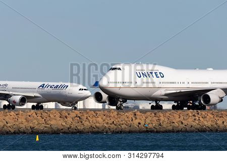 Sydney, Australia - October 10, 2013: United Airlines Boeing 747 Jumbo Jet Airliner On The Runway At