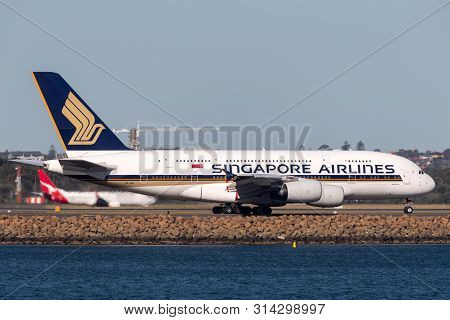Sydney, Australia - October 9, 2013: Singapore Airlines Airbus A380 Large Four Engined Passenger Air