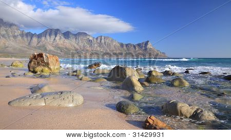 Rocky beach and mountains
