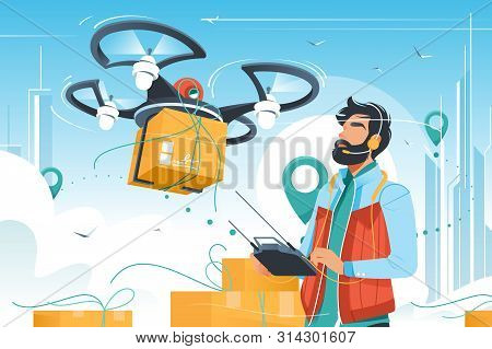Young Handsome Man With Beard Controls Drone Delivery With Wireless Remote. Concept Male Employee Ch