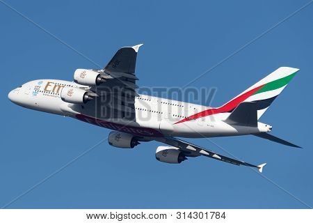 Sydney, Australia - October 7, 2013: Emirates Airbus A380 Four Engined Large Passenger Aircraft Taki
