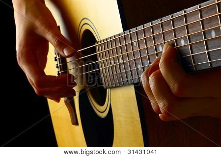 Closeup View Of Playing Classic Spanish Guitar