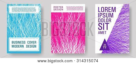 Flyer Poster Vector Graphic Design Set. Teal Pink Purple Waves Texture Backdrops. Fluid Buzzing Wavy