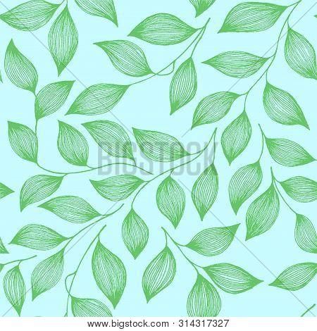 Packaging Tea Leaves Organic Seamless Pattern Vector. Decorative Tea Plant Bush Green Leaves Floral